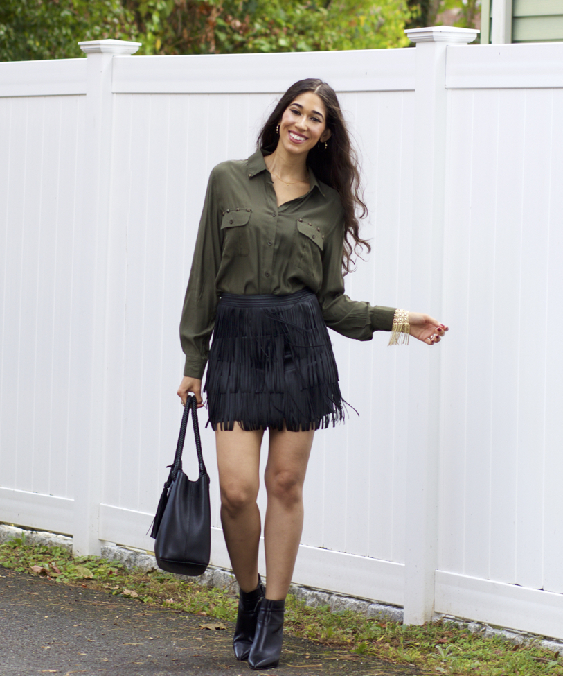 more photos low priced good Fringe Mini Skirt + Olive Button-Up - The Style Contour