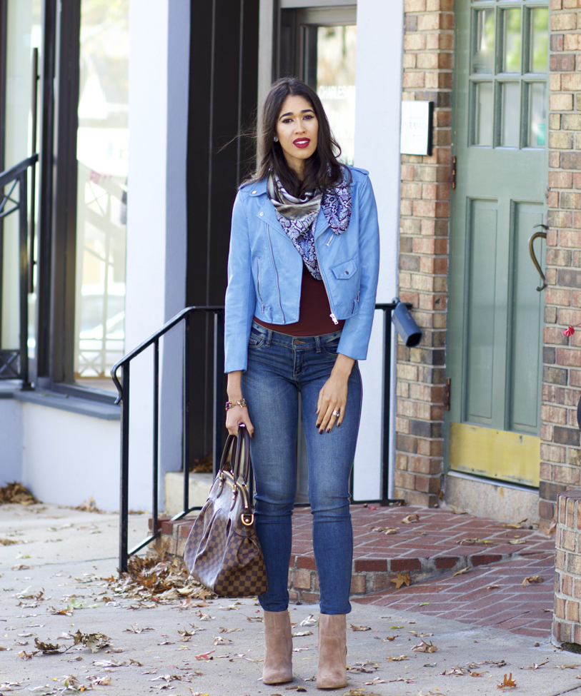 Light Blue Leather Jacket Outfit