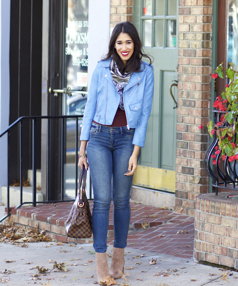 How to Wear Light Blue in the Fall - The Style Contour