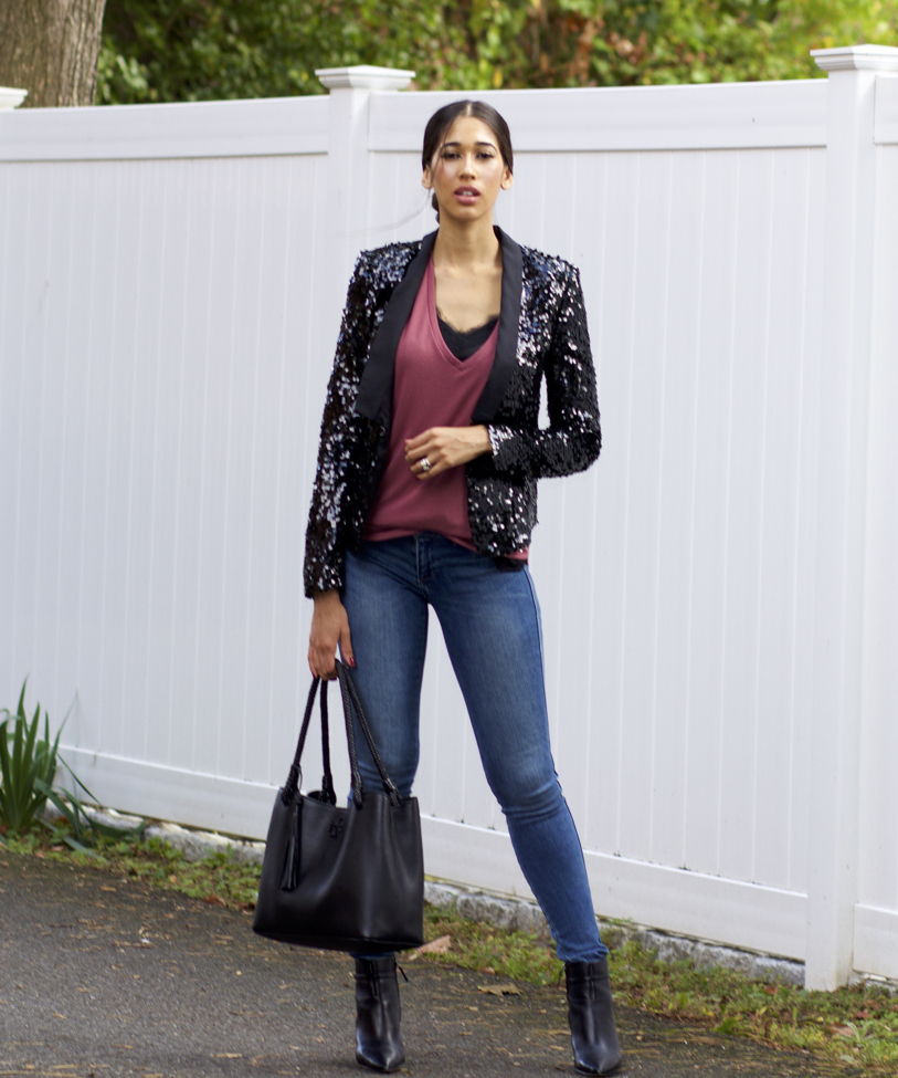 How to Wear a Sequin Blazer With a Casual Outfit