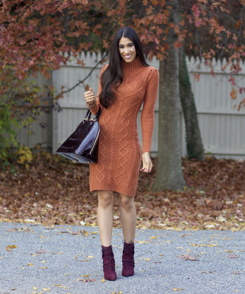 defb8aa28ac Orange Sweater Dress and Burgundy Boots - The Style Contour