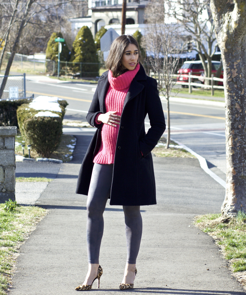 Pink Sweater & Grey Leggings - The Style Contour