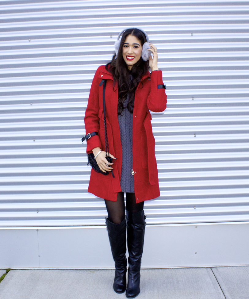 b45228ccd0f cute christmas outfit idea featuring asos grey mohair coat and red ...