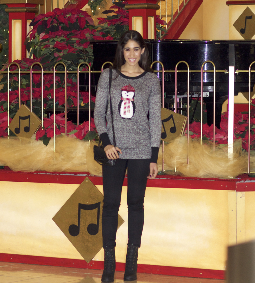 how to wear the cute ugly christmas sweater